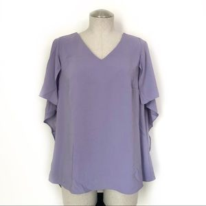 Halston Flowy Crepe Top with Cape Sleeves Size 8